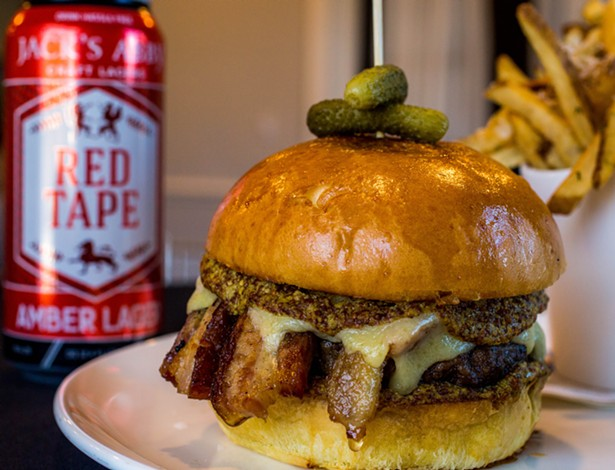 """March's """"Wind Down Wednesday"""" burger at Willow by Charlie Palmer featured pork belly and Guinness stout mustard - IMAGES COURTESY OF MIRBEAU INN & SPA"""