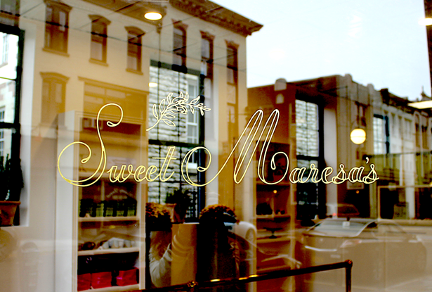 Hand-gilded signage at Uptown Kingston bakery Sweet Maresa's in 23-karat matte gold