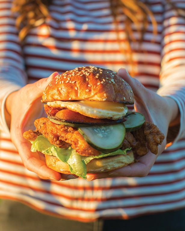The fried chicken sandwich from Arrowood Farms, one of the offerings at its new Apiary restaurant. - ARROWOOD FARMS