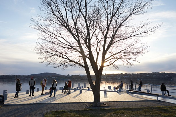 Long Dock Park on the Hudson River at sunset. - DAVID MCINTYRE