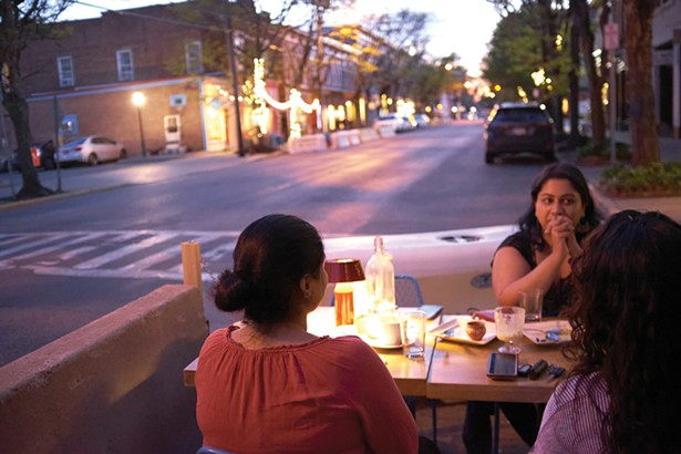 Outdoor dining at Cinnamon Indian restaurant - DAVID MCINTYRE