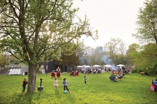The beer garden at Grand Cru Beer & Cheese Market is a relaxed destination for beer lovers (and their kids). - DAVID MCINTYRE