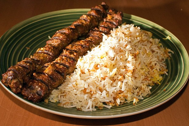 Beef Koobideh made on a grill, served with a Persian style basmati rice. - MATTHEW MENDOZA CC 2.0