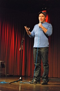 Matthew Dicks performing at The Story Collider - IMAGE COURTESY OF PHOENICIA PLAYHOUSE