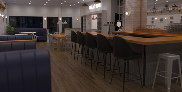 A rendering of the sooncoming bar at Mill & Main.