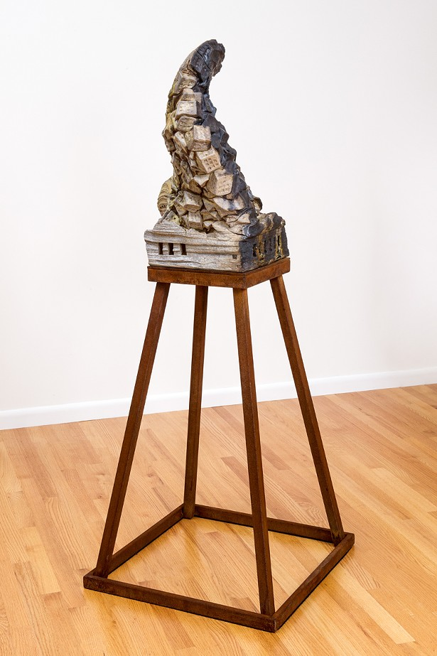 """""""Injustice Of Silence,"""" wood-fired ceramic, porcelain, glass, steel, 63"""" x 25"""" x 25"""", 2017"""