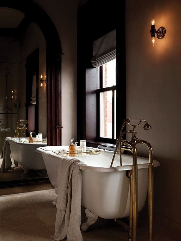 A bathroom in one of the Maker Hotel suites.