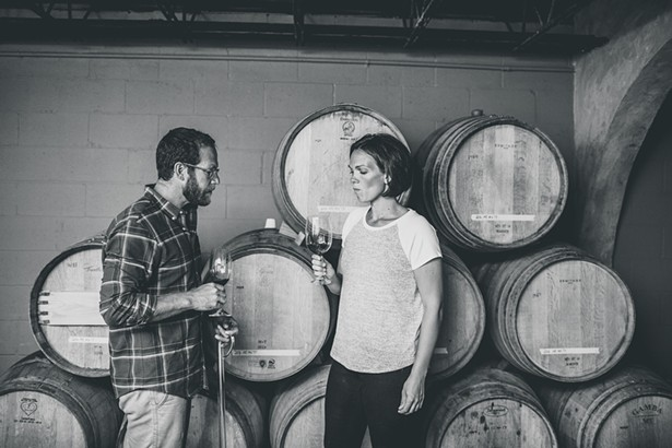 Matt Spaccarelli and Casey Erdmann of Milton-based Fjord Vineyards in the winery's cellar.