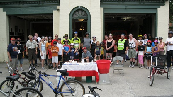 Kids and families taking a break from the Tour de Kingston Family Fun Ride at the Kingston Fireman's Museum - TOM POLK