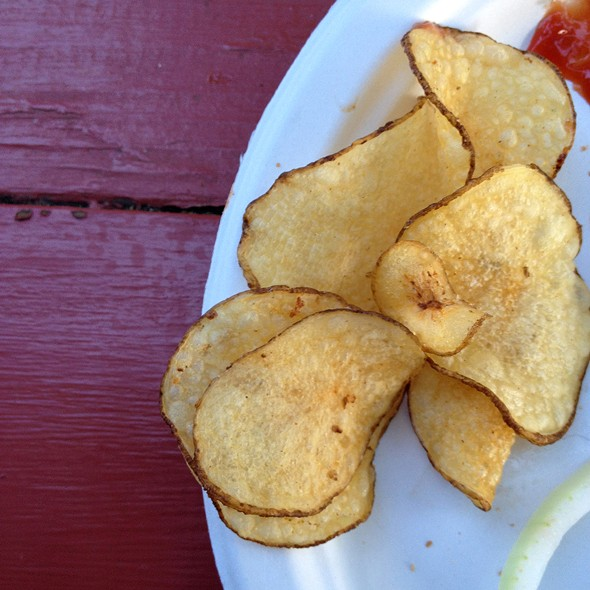 Homemade skin-on chips at The Matchbox Cafe - HILLARY HARVEY