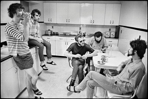 The Band in the kitchen of house Levon Helm and Garth Hudson shared in Bearsville. - ELLIOT LANDY