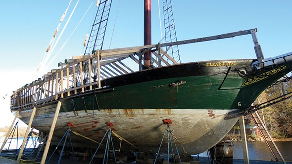 Sloop Clearwater in drydock in Kingston.