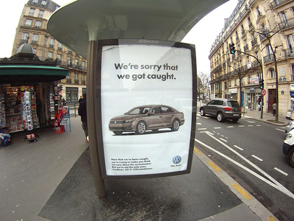 """One of the 600-plus """"ad takeovers"""" the activist-artist collective Brandalism has posted throughout Paris this week. - ART BY BARNBROOK"""
