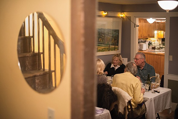 The small, cozy dining room at Heather Ridge Farm - JIM MAXIMOWICZ