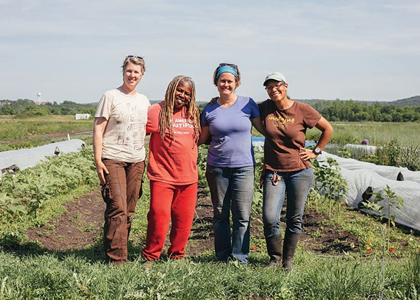 From left: Michaela Hayes, Karen Washington, Jane Hodge, and Lorrie Clevenger of Rise and Root Farm in Chester