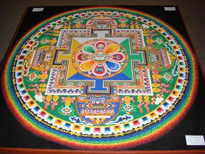 A Chenrezig Sand Mandala created and exhibited at the House of Commons, UK, on the occasion of the visit of the Dalai Lama on May 21, 2008. - PHOTO BY COLONEL WARDEN/WIKIMEDIA COMMONS UNDER CREATIVE COMMONS LICENSE.