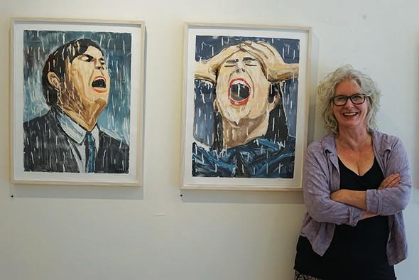 Jen Dragon next to monotypes by Richard Bosman at Cross Contemporary Art in Saugerties. - JOHN GARAY