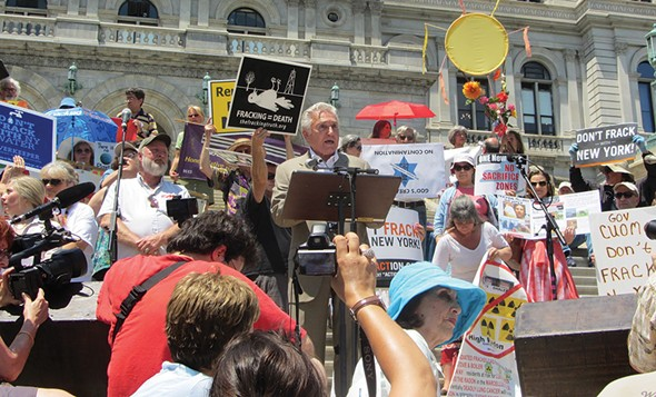 Rep. Maurice Hinchey at an anti-fracking rally on the steps of the New York State capitol in 2013.