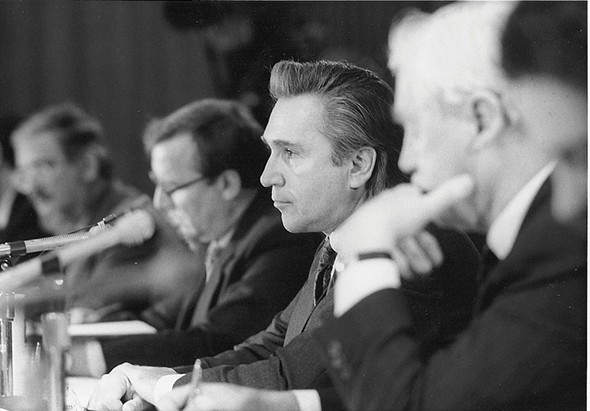Assemblyman Hinchey chairing a meeting of the Environmental Conservation Committee in the late 1970s.