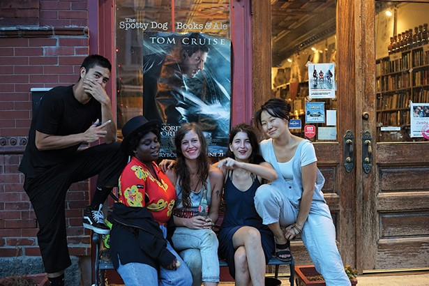 Tomm Roeschlein, Shanekia McIntosh, Sara Beckley, Rebecca Becker, and Enky Bayar in front of The Spotty Dog Books and Ale in Hudson. - JOHN GARAY