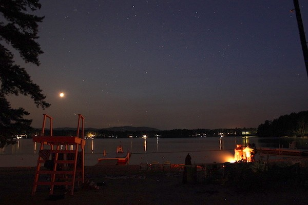 Crescent Moon and fire on the beach at Dance New England last week, Freedom, New Hampshire. - AMANDA PAINTER
