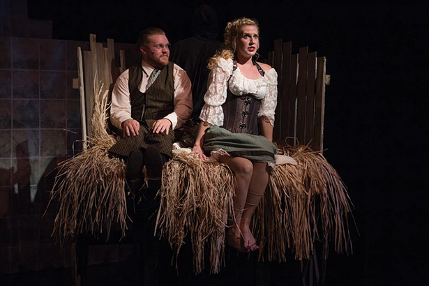 """Dietz Farcher as Frankenstein & Aubrey Flick as Inga in an Up in One Productions of """"Young Frankenstein."""""""