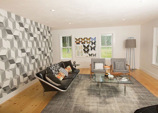 Living room addition at the Rhinecliff farmhouse of textile designer Dunja Von Stoddard.