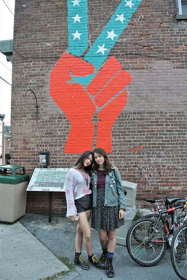 SUNY New Paltz students Jade Mogavero and Lily Lavender Wolf  just off of Main Street in New Paltz. - JOHN GARAY