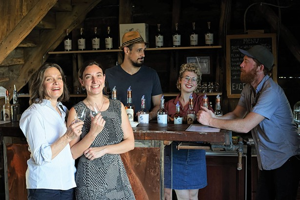Diane Drew and Michaela Rahimi, chief distiller Christopher Williams, tavern keeper Sarah Jane Young, Mashman, and Brad Nagle at Coppersea Distilling - JOHN GARAY