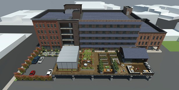 Rendering of the future E2 Energy Square, a RUPCO project for Midtown Kingston designed by Dutton Architecture, the site of a former bowling alley.