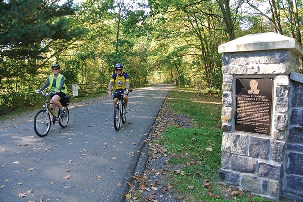 Marsha and Fred Rutz at Hopewell Junction Depot Rail Trail. - JOHN GARAY