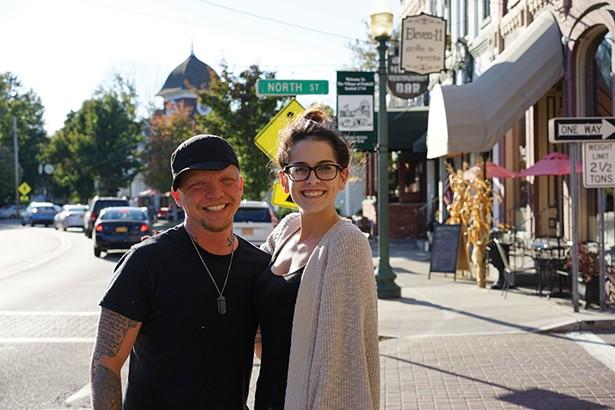 "Josh ""The Barber"" and Lindsay on Main Street in Fishkill. - JOHN GARAY"