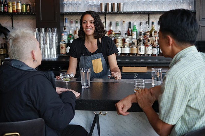 Bartender Jessica Gonzalez and patrons Kim Heller and Matt Kim at Heritage Food & Drink in Wappingers Falls. - JOHN GARAY