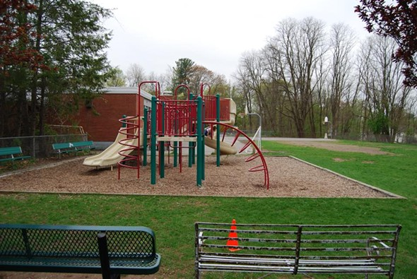 The single piece of playground equipment at Edson Elementary