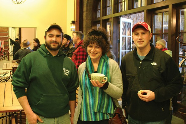 """Mark Soukup of Soukup Farms, Kara O'Neill, host of """"Hudson Valley Green""""on Pawling Public Radio,and Will Vincent of Brookby Farms. - BRIAN BERUSCH"""