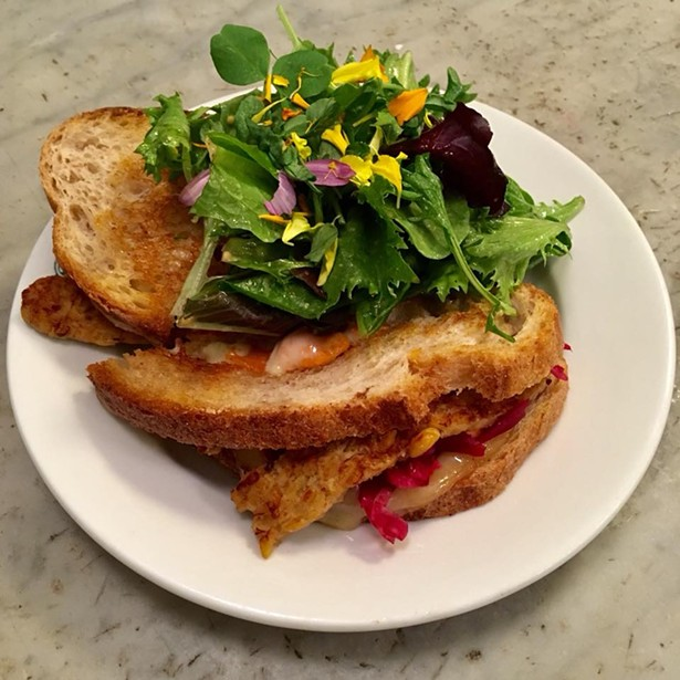 An affordable vegetarian sandwich from Outdated Cafe in Kingston.