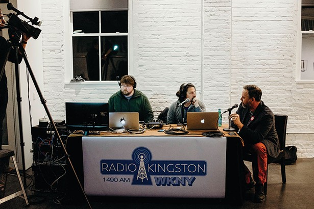 Chronogram editor Brian K. Mahoney talking with Jimmy Buff of Radio Kingston. Also pictured, producer Kale Kaposhilin. - ANNA VICTORIA