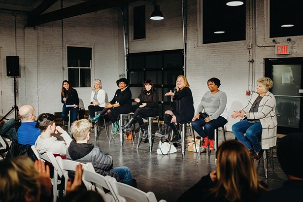 The panel: Moderator Hillary Harvey, Dr. Eve Waltermaurer, Sharone Wellington-deAnda, Meira Blaustein, Susan Zimet, Tameka Ramsey, and Assemblymember Didi Barrett. - ANNA VICTORIA
