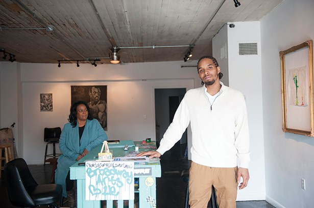 Fabian Marshall with his mother, Liz Baker, at Broadway Arts in Kingston. - HILLARY HARVEY