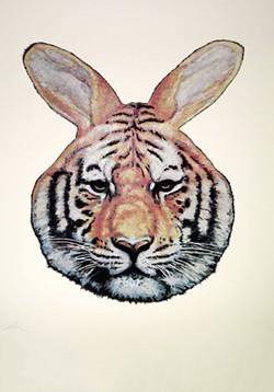 Tiger Rabbit, a screenprint by Gaia