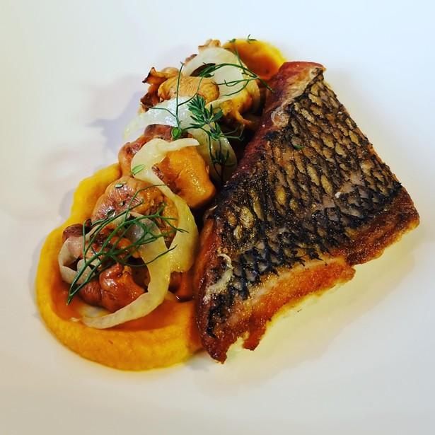 Black Seabass, Carrot Puree, Chanterelles