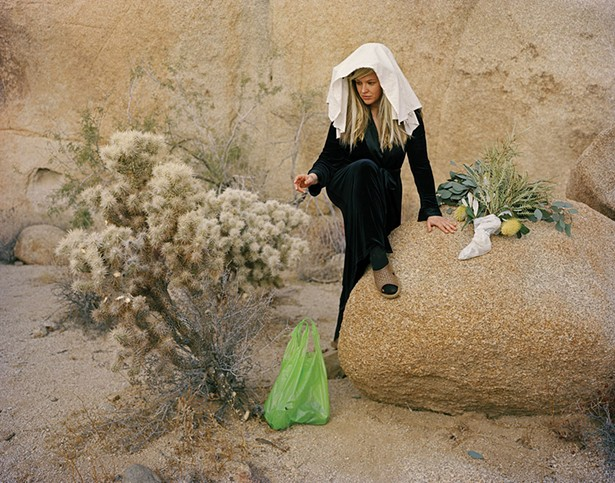 """Mollie McKinley, Cholla Bag and Toe Hole Stocking, Reaching, 2018, archival inkjet print, part of the """"Time Travelers"""" exhibit at the Dorsky Museum this summer."""