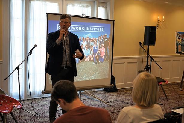Matt Stinchcomb presenting on the Good Work Institute. - JOHN GARAY