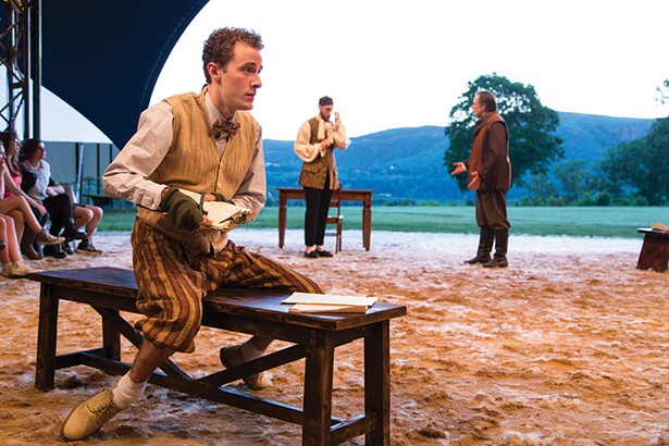 """Zach Fike Hodges, Michael Broadhurst, Stephen Paul Johnson in """"The Book Of Will"""" at Hudson Valley Shakespeare Festival. - PHOTO BY T. CHARLES ERICKSON"""