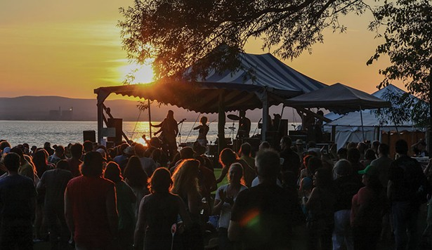 Clearwater's Hudson Stage at sunset in 2017.