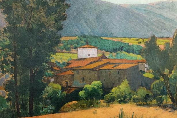 A detail of Etienne Terrus' Vue d'Espira du Conflent, effet du matin.