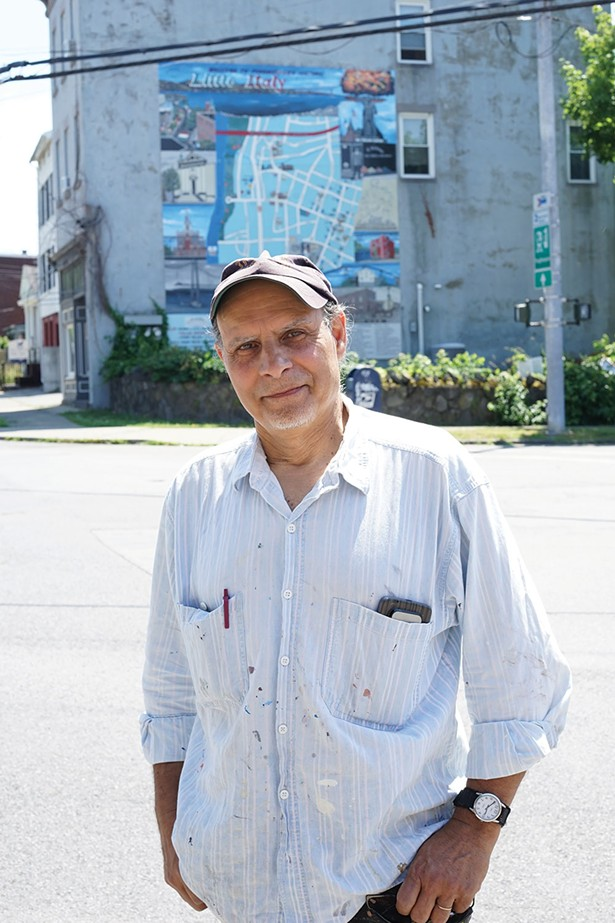 Artist Franc Palaia in front of his mural in Poughkeepsie's Little Italy neighorhood - JOHN GARAY