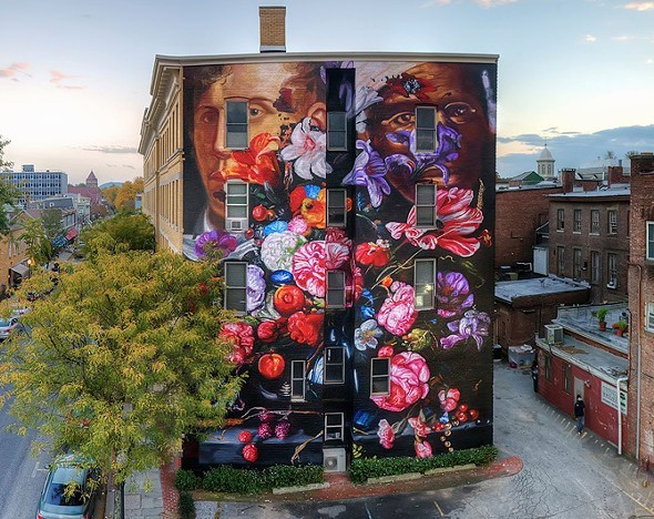 """Pronskstilleven,"" is a 2015 mural by Gaia, on the RUPCO building behind Chronogram's uptown office."