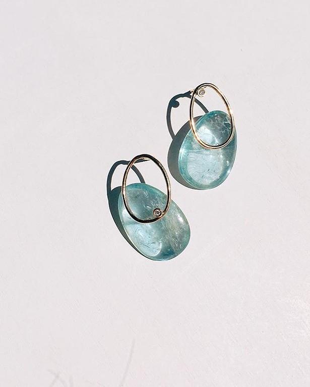 Ocean Tears, Aquamarine forms earrings by Mary MacGill