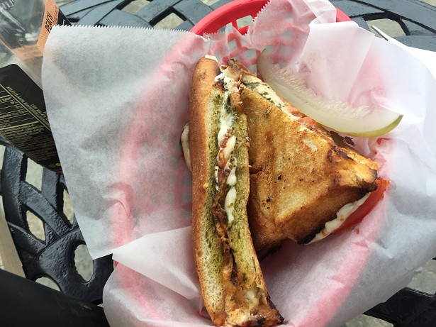 The Shelter House panini: hot-pressed Buffalo mozzarella, tomato, and pesto.